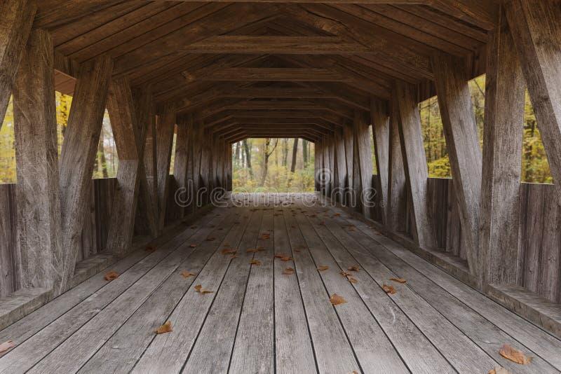 representación 3d de un puente de madera cubierto viejo delante del bosque libre illustration