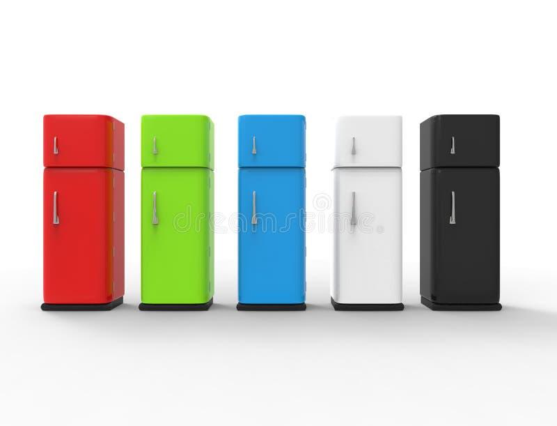 representación 3d de un refrigerador aislado en el fondo blanco del estudio libre illustration