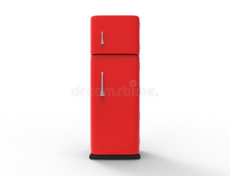 representación 3d de un refrigerador rojo aislado en el fondo blanco del estudio libre illustration