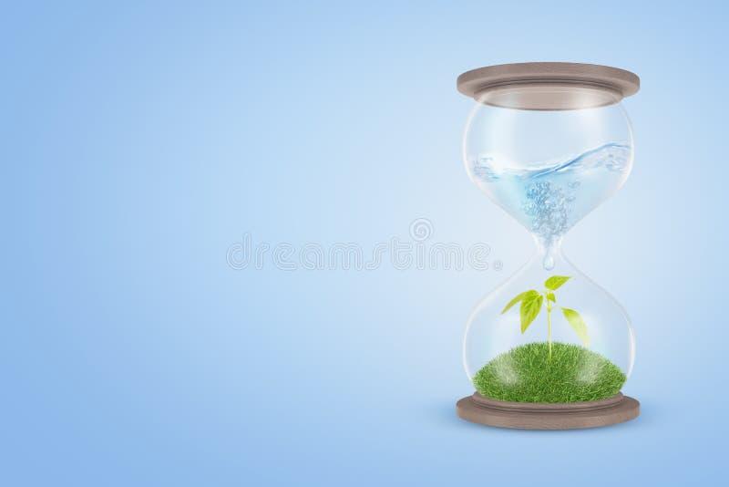 representación 3d de un reloj de arena con agua en su parte superior que gotea abajo a la parte más inferior que contiene un brot libre illustration