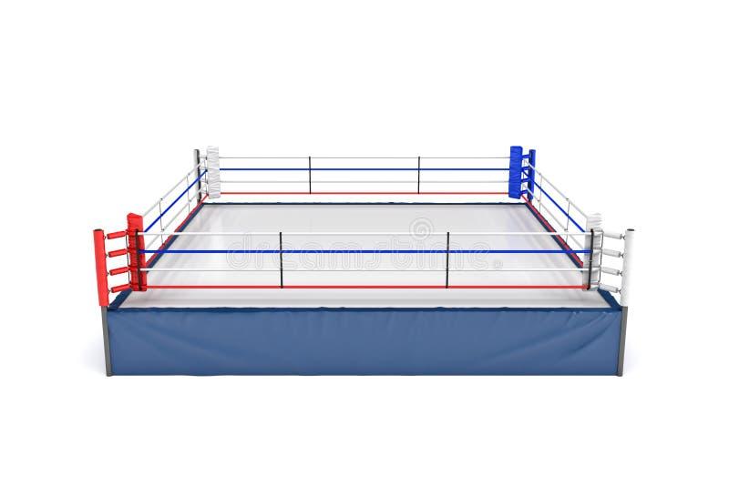 representación 3d de un ring de boxeo vacío en vista delantera de parte delantera superior aislado en el fondo blanco ilustración del vector