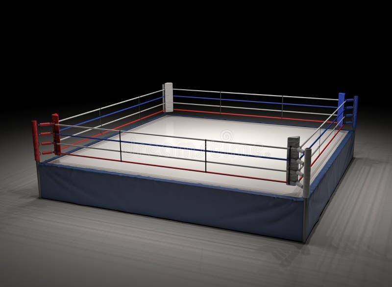 representación 3d de un ring de boxeo vacío puesto de relieve en la oscuridad fotografía de archivo libre de regalías