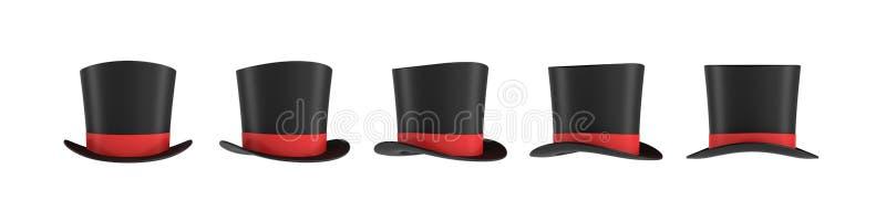 representación 3d de un sistema de varios sombreros negros del ` s del mago con una raya roja en diversas vistas laterales ilustración del vector