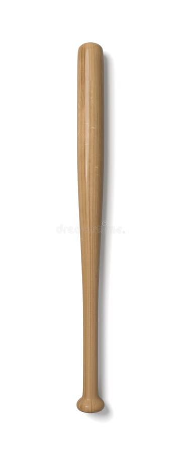 representación 3d de un solo bate de béisbol de madera con el acabamiento polaco en la visión superior aislado en un fondo blanco stock de ilustración