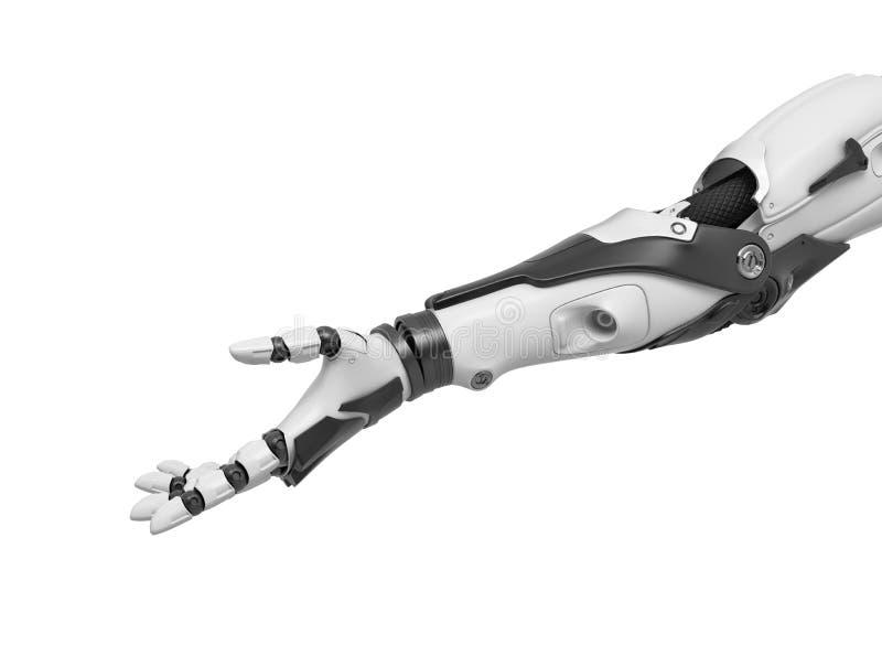 representación 3d de un solo brazo del cyborg con la palma soportada en gesto amistoso stock de ilustración