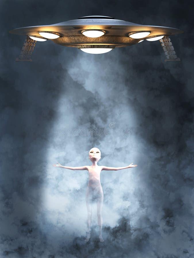 representación 3D de un vehículo espacial de llamada extranjero del UFO ilustración del vector