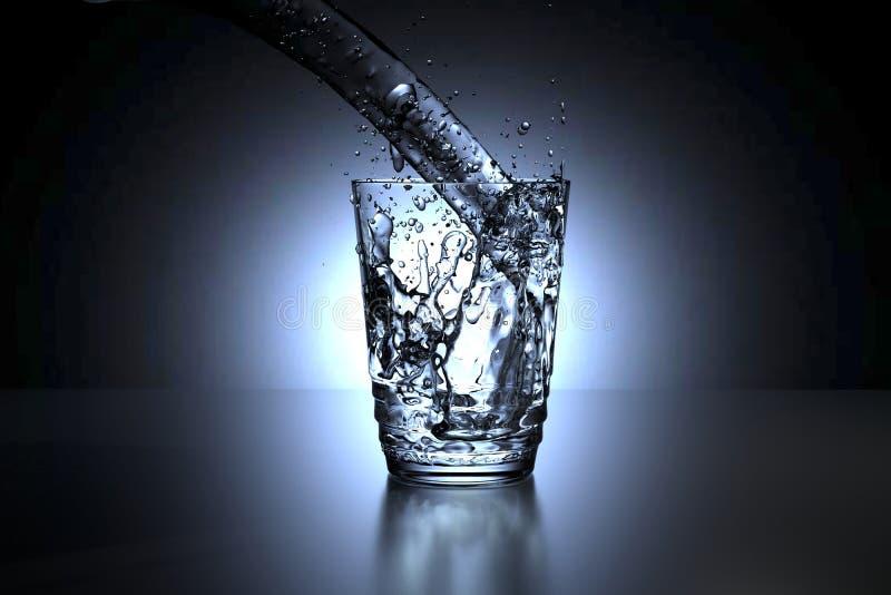 representación 3D de un vidrio del derramamiento del agua libre illustration