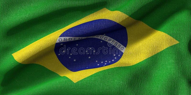 representación 3d de una bandera del Brasil con textura de la tela imágenes de archivo libres de regalías