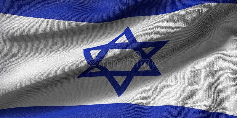 representación 3d de una bandera de Izrael con textura de la tela stock de ilustración