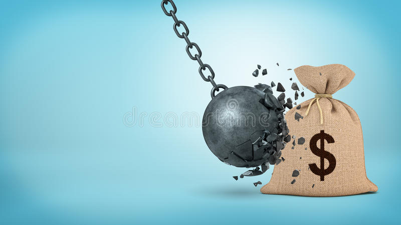 representación 3d de una bola arruinadora grande que golpea un bolso grande del dinero de la arpillera y que se rompe fotografía de archivo
