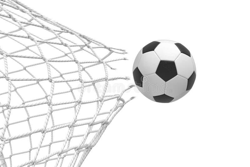 representación 3d de una bola del fútbol que rompe una red con una fuerza de su golpe y que se va volando foto de archivo
