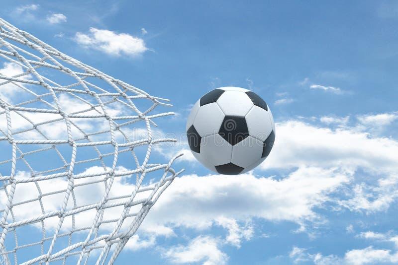 representación 3d de una bola del fútbol que vuela muy fuertemente a través de una red y que la rompe en un fondo del cielo imágenes de archivo libres de regalías
