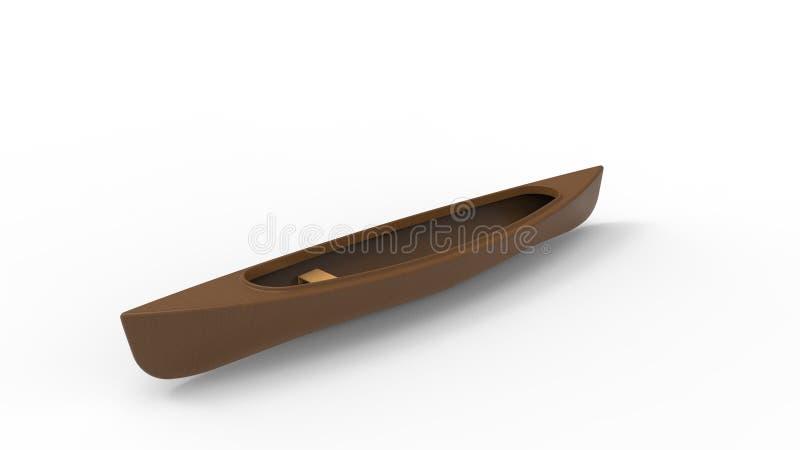 representación 3d de una canoa aislada en el fondo blanco del estudio ilustración del vector