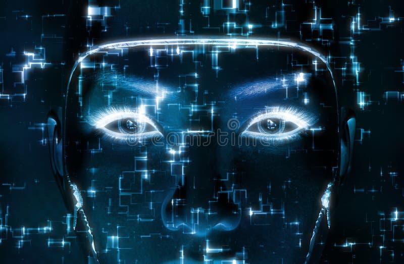 representación 3D de una cara femenina del robot stock de ilustración