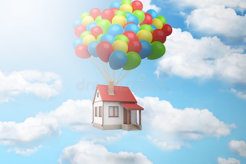 representación 3d de una casa levantada para arriba en el aire por un paquete grande de globos contra el cielo azul con las nubes stock de ilustración