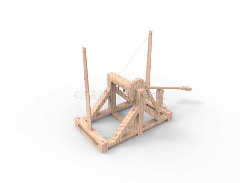 representación 3d de una catapulta de Leonardo Da Vinci en el fondo blanco libre illustration
