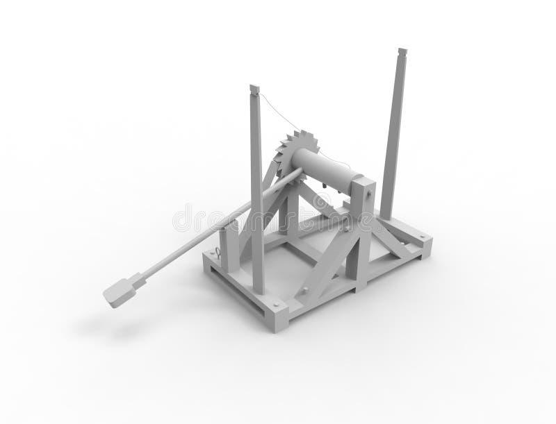 representación 3d de una catapulta de Leonardo Da Vinci en el fondo blanco ilustración del vector