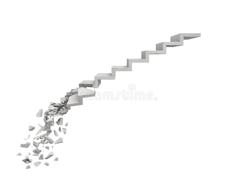 representación 3d de una escalera de piedra gris larga con varios pasos rota en su base en el fondo blanco ilustración del vector
