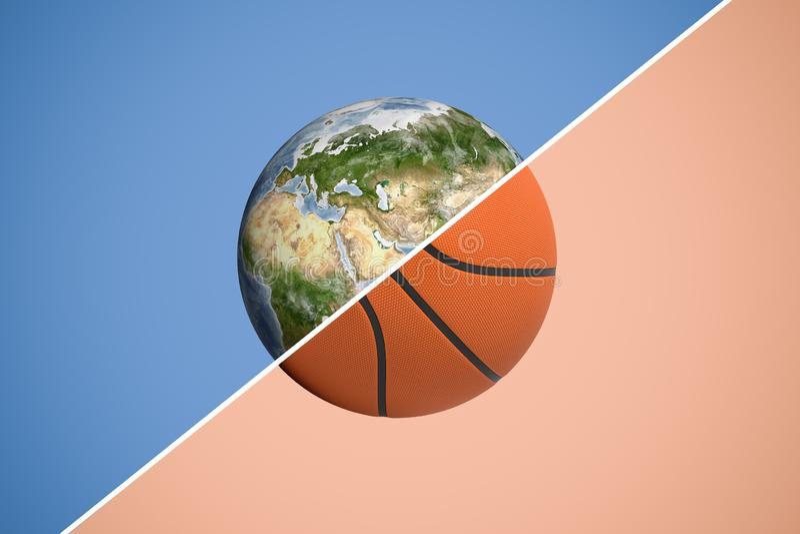 representación 3d de una esfera dividida en dos con una línea diagonal en la tierra del planeta y un baloncesto imagenes de archivo
