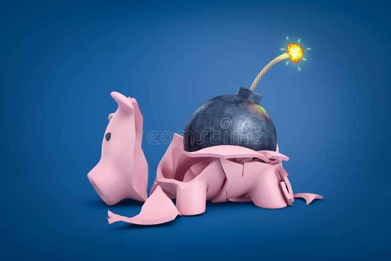 representaci?n 3d de una hucha rota en pedazos con una bomba con la mecha ardiendo que miente entre los cascos guarros libre illustration
