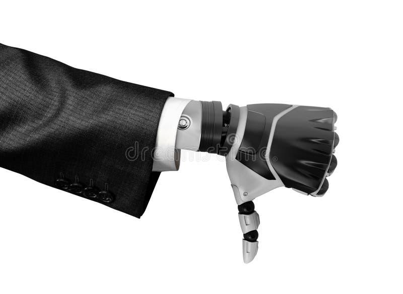 representación 3d de una mano robótica en el pulgar de la demostración del traje de negocios abajo aislado en el fondo blanco imagenes de archivo