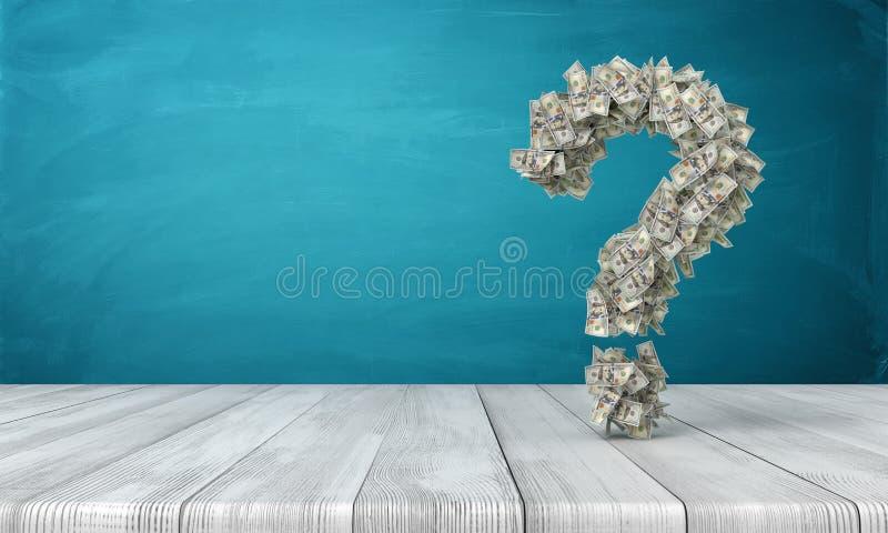 representación 3d de una muestra de la pregunta hecha de muchos billetes de banco del dólar que cuelgan sobre un escritorio de ma foto de archivo libre de regalías