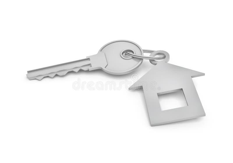 representación 3d de una sola llave de plata con la etiqueta aislada en el fondo blanco stock de ilustración