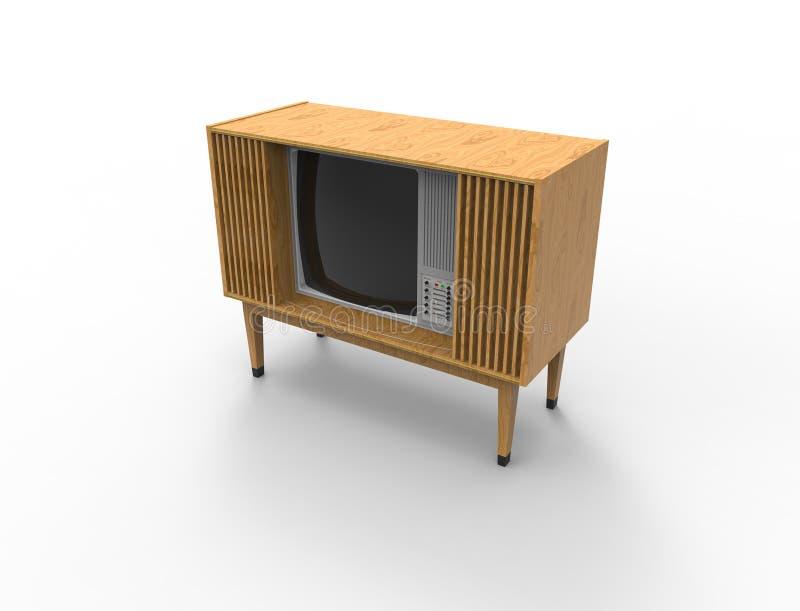 representación 3d de una televisión retra TV del vintage aislada en el fondo blanco stock de ilustración