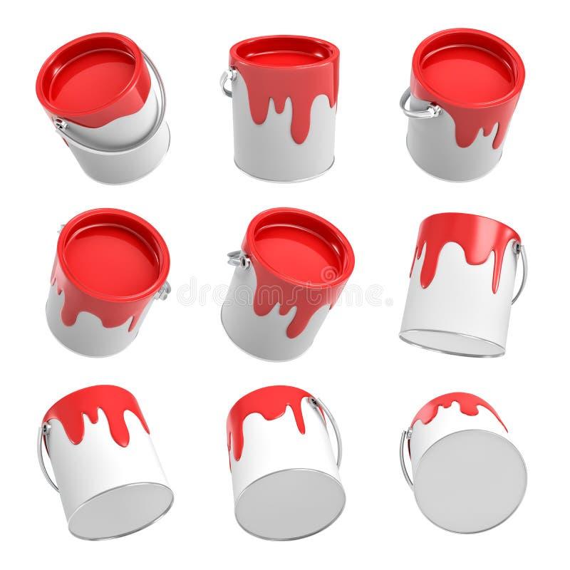 representación 3d de varios cubos de la pintura con escaparse la pintura roja en diversos ángulos en un fondo blanco ilustración del vector