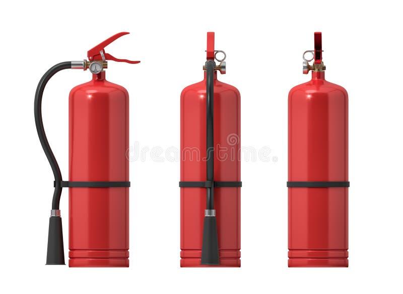 representación 3d de varios extintores rojos en un fondo blanco stock de ilustración