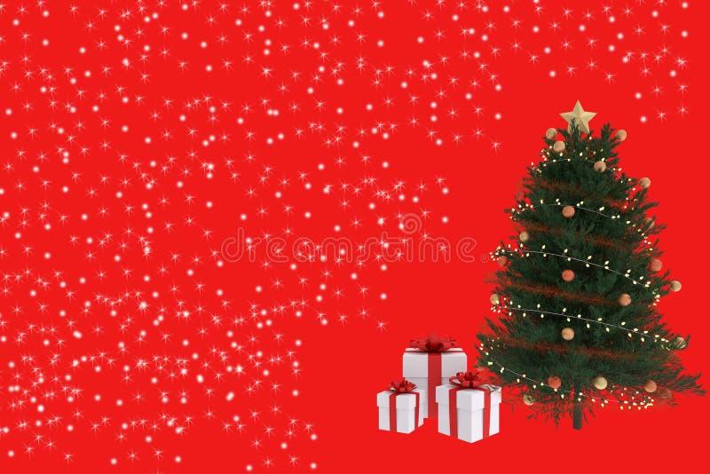 representación 3D del árbol de navidad con las cajas de regalo blancas en fondo rojo libre illustration