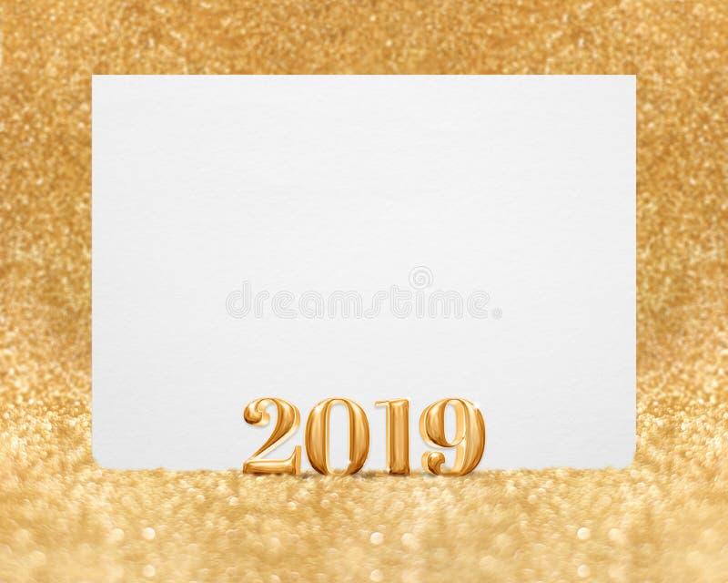 Representación 3d del Año Nuevo 2019 del color oro con greetin blanco en blanco imagen de archivo
