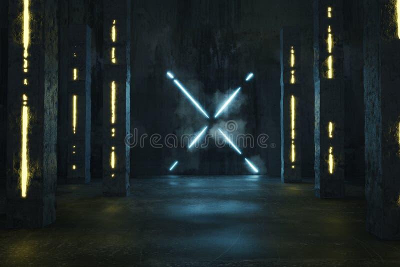 representación 3d del azul aligerar la forma de X siguiente por los pilares concretos y el piso del grunge con los charcos imagen de archivo