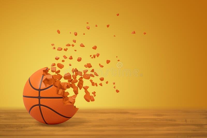 representación 3d del baloncesto que disuelve en partículas en un lado, en superficie de madera en fondo amarillo con mucha copia ilustración del vector