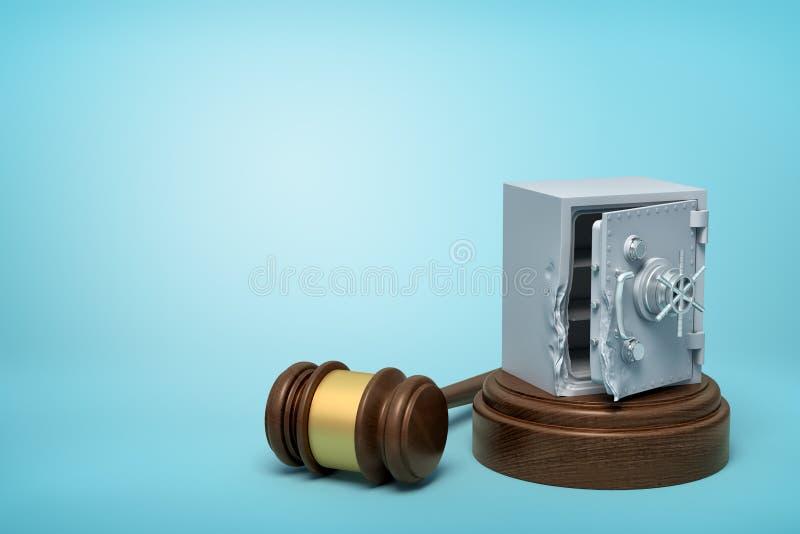 representación 3d del banco dañado quebrado del metal seguro en bloque de madera redondo y el mazo de madera marrón en fondo azul libre illustration