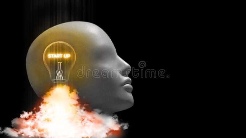 representación 3D del comienzo de la bombilla para arriba en la cabeza del cyborg que quita de la tierra como el cohete stock de ilustración