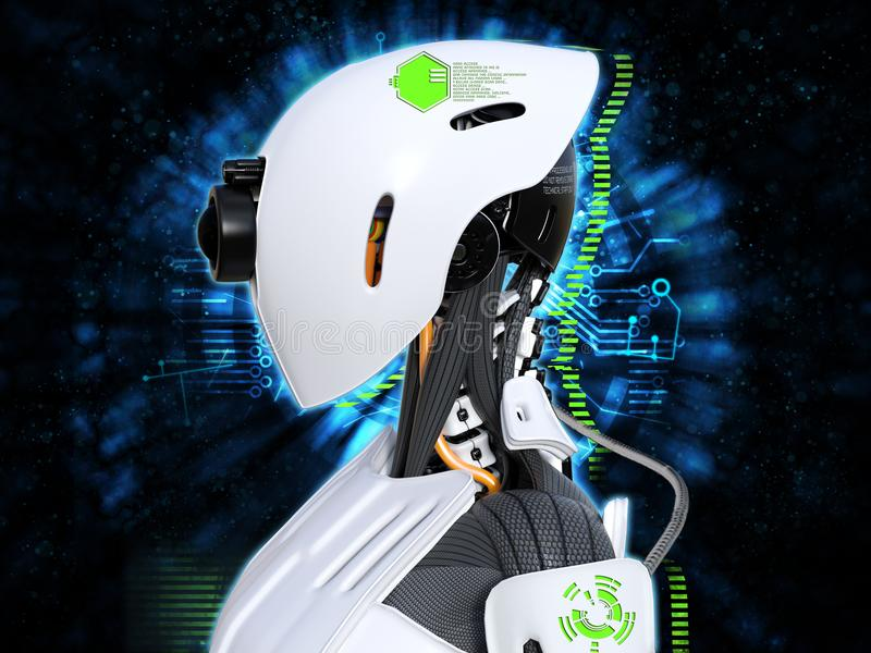 representación 3D del concepto androide femenino de la tecnología de la cabeza del robot stock de ilustración