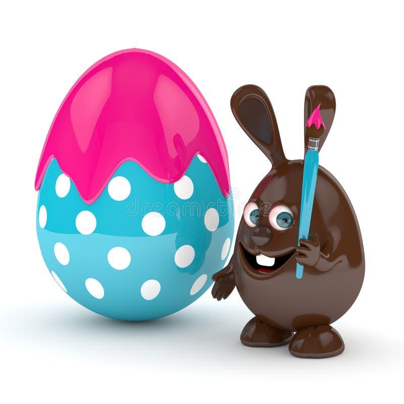 representación 3d del conejito del chocolate de Pascua con los huevos ilustración del vector