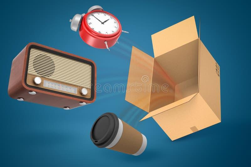 representación 3d del despertador rojo, de la radio retra del vintage y del vuelo de la taza de café del papel fuera de la caja d libre illustration