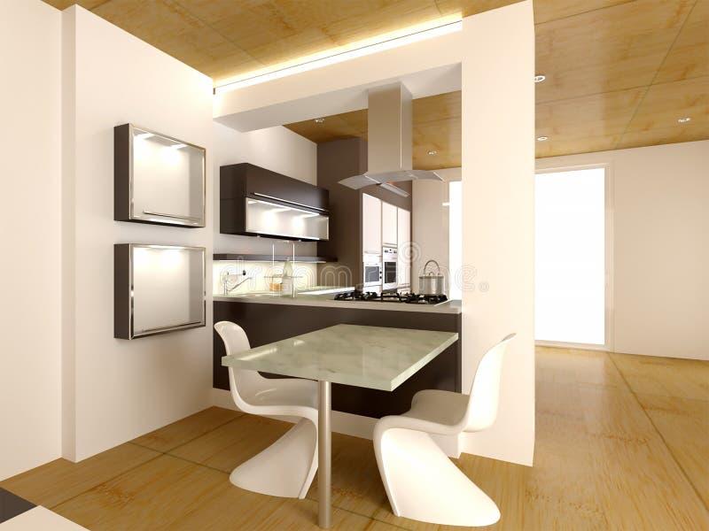 representación 3d del diseño interior de la nueva idea moderna de la cocina ilustración del vector