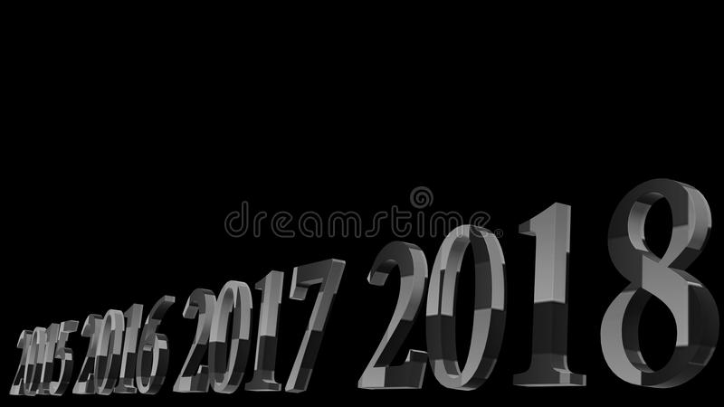 representación 3d del diseño del texto 3d de la Feliz Año Nuevo 2018 con vagos claros imagen de archivo