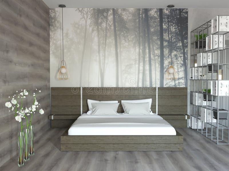 representación 3d del dormitorio de madera del estilo del desván stock de ilustración
