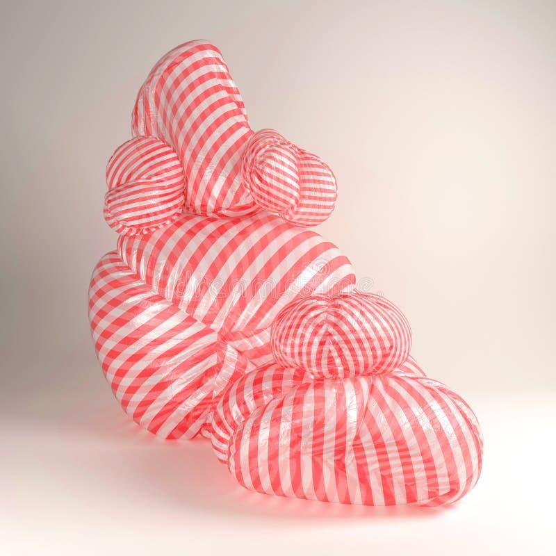 representación 3d del ejemplo abstracto con el puf extraño amorfo stock de ilustración