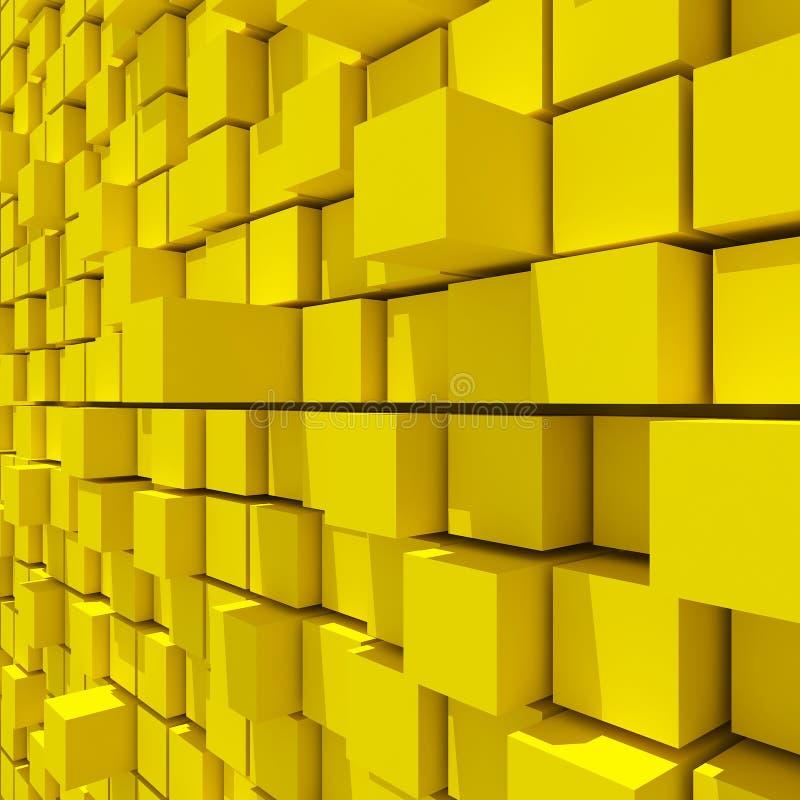 representación 3d del fondo llano al azar cúbico amarillo stock de ilustración