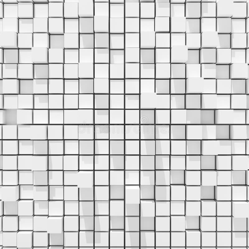 representación 3d del fondo llano al azar cúbico blanco ilustración del vector