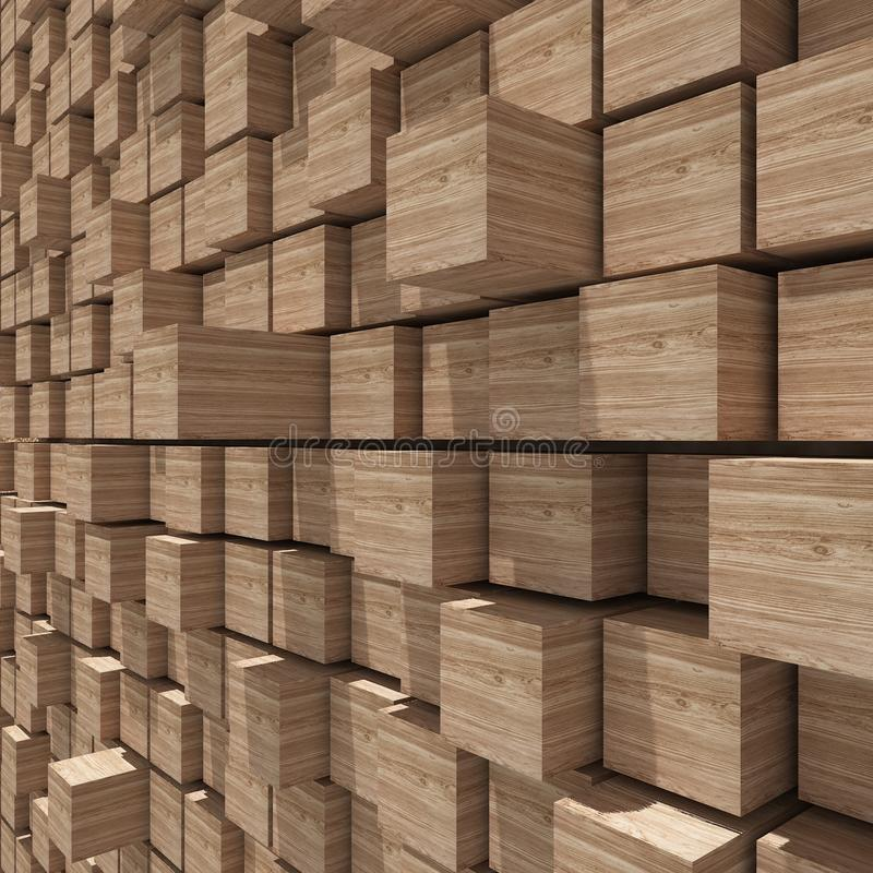 representación 3d del fondo llano al azar cúbico de madera libre illustration