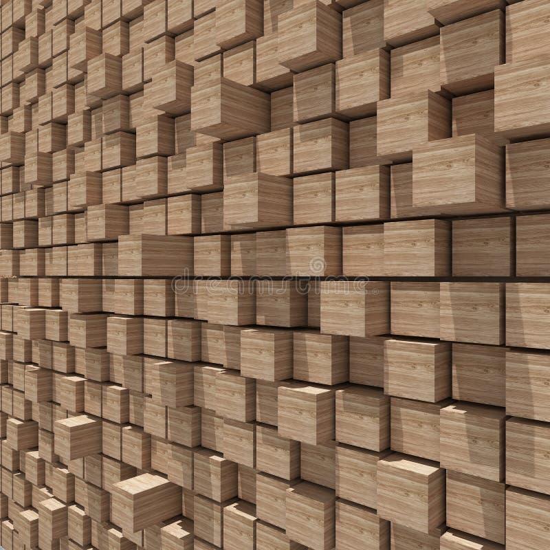 representación 3d del fondo llano al azar cúbico de madera stock de ilustración