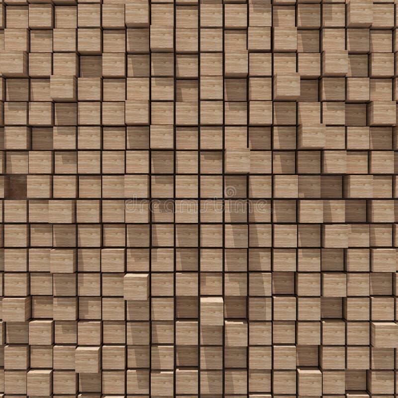 representación 3d del fondo llano al azar cúbico de madera ilustración del vector