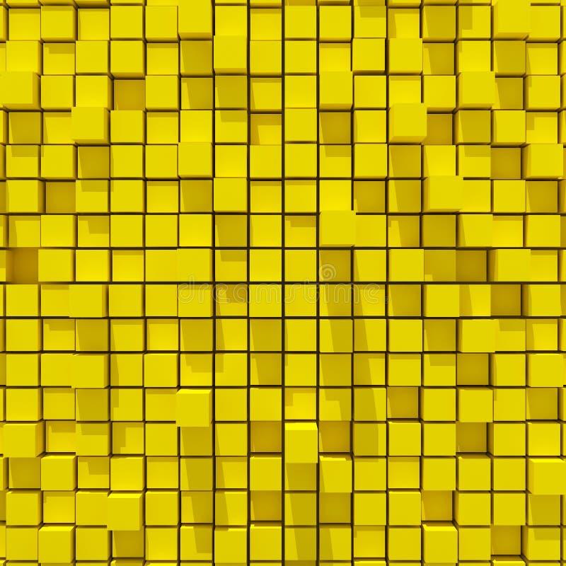 representación 3d del fondo llano al azar cúbico del yellowl libre illustration