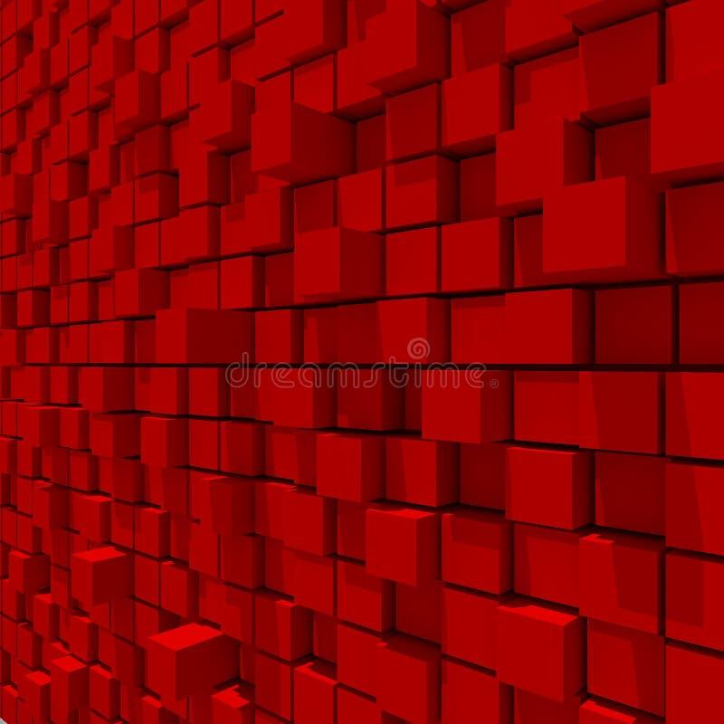 representación 3d del fondo llano al azar cúbico rojo stock de ilustración